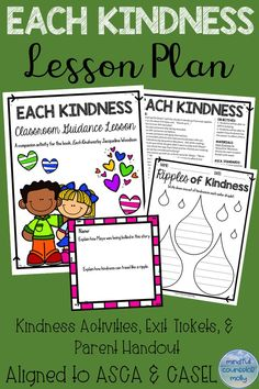 Jacqueline Woodson's Each Kindness is a touching story that evokes emotion and empathy from upper elementary students. This lesson plan is a companion to the book and helps children to understand how just one act of kindness can change the world. Teaching Kindness, Kindness Activities, Book Activities, Elementary School Counseling, School Counselor, Books About Kindness, World Kindness Day, First Day Of School Activities, 4th Grade Reading