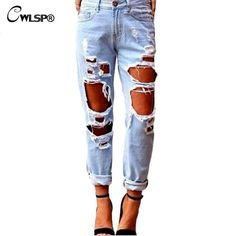 New Fashion Ripped Jeans Femme Casual Washed Holes Boyfriend Jeans for Women Regular Long Torn Jeans Wild Denim Pants XL QL1040-in Jeans from Women's Clothing & Accessories on Aliexpress.com   Alibaba Group   @giftryapp
