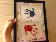Monster handprint gift for daddy's birthday. The boys did surprisingly well with the paint!