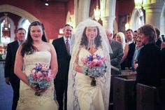 Allie & Megan's traditional Christian wedding goes queer Church Wedding, Wedding Groom, Bride Groom, Marriage Rights, Bridesman, Two Brides, Rainbow Wedding, Offbeat Bride, Lesbian Wedding