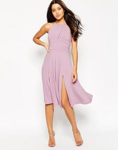 ASOS | ASOS High Neck Drape Front Midi Skater Dress at ASOS