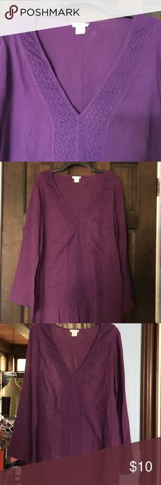 """BEVERLY KATZ South Beach Tunic/Coverup -M Adorable! This is the greatest color of dark plum purple ever!! Simple and comfortable 100% cotton tunic and beach coverup. Nice deep V-Neck very flattering. Pretty lace trim down the neck and bought us all the way to the bottom where there is a 5 inch slit! Sleeves are a slight bell shape three-quarter inch links to the tunic. 34"""" length from shoulder; 22"""" bustline. Bell on sleeve is 9"""" well loved, good used condition. No noteable flaws. Items…"""