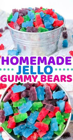 Learn how to make your delicious jello gummy bears! Gummy bears make a yummy sweet treat for kids and adults. These gummy bears are made from jello and taste amazing! Make this delicious gummy bear recipe with your kids today! Homemade Gummy Bears, Homemade Gummies, Homemade Candies, Recipe For Homemade Candy, Homeade Candy, Snacks Homemade, Homemade Baby, Jello Gummy Bears, Gummy Bear Recipe With Jello