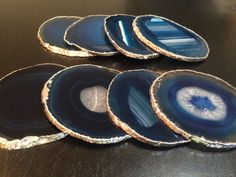 Agate Coaster Blue Agate Coasters Brazilian by NewMoonBeginnings