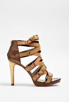Tan Leonia Strap Ankle Sandal by MICHAEL Michael Kors - I have a huge weakness for buckles *and* Michael Kors. Since BEFORE the Runway. His stuff is almost always my taste.