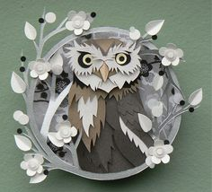 Barn Owl, paper collage/sculpture by Helen Musselwhite