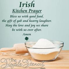 An Irish prayer or blessing that reads: Irish Kitchen Prayer Bless us with good food, the gift of gab and hearty laughter. May the love and joy we share be with us ever after. Amen. Includes a four leaf shamrock and is available in your choice of two colors. This Irish blessing makes