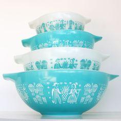 Vintage Pyrex Cinderella Mixing Bowls - Butterprint Pattern. $72.00, via Etsy.