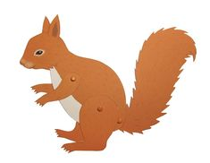 """This squirrel will look very cute on your wall - either as a card or cut out and assembled. To assemble this doll, you will need 3 """"mini brads"""" which you can get at the scrapbooking supply..."""