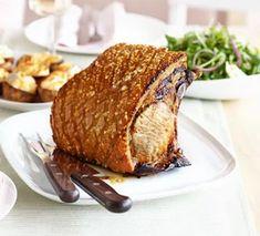 Crisp roast pork with honey mustard gravy