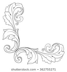 Vector de stock (libre de regalías) sobre Decoration Corner Vector133473224 Baroque Frame, Motif Baroque, Wood Carving Patterns, Carving Designs, Filigree Tattoo, Engraving Art, Celtic Patterns, Scroll Pattern, Mandala Drawing
