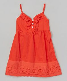 Another great find on #zulily! Red Eyelet Ruffle Dress - Toddler & Girls #zulilyfinds