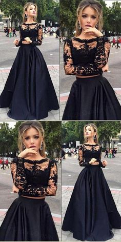 Black Prom Dress, Long sleeves Prom Dress, Two pieces Prom Dress, Long Prom Dress, 2018 Prom Dress Prom Dress 2019 Prom Dresses Prom Dresses Black Long Prom Dresses Prom Dresses With Sleeves Prom Dresses Long Prom Dresses Two Piece, Prom Dresses For Teens, Prom Dresses Long With Sleeves, Prom Outfits, Black Prom Dresses, A Line Prom Dresses, Lace Evening Dresses, Cheap Prom Dresses, Dress Prom