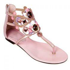 Fashionable Beading and Rhinestones Design Women's Sandals