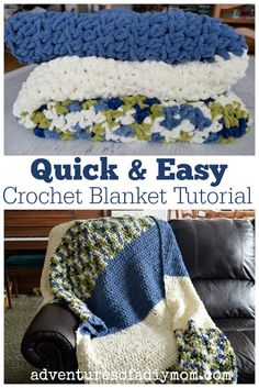 Quick and Easy Crochet Blanket Tutorial perfect for beginners or crocheters who want a project they can complete fast! blanket patterns for beginners simple Easy Crochet Blanket Tutorial Crochet Afghans, Quick Crochet Blanket, Crochet Blanket Tutorial, Fast Crochet, Crochet For Beginners Blanket, Blanket Yarn, Chunky Crochet, Afghan Crochet Patterns, Crochet Blankets