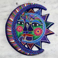 Ceramic wall adornment, 'Eclipse of Love' - Unique Sun and Moon Ceramic Wall Art Peacock Wall Art, Mexican Ceramics, Ceramic Wall Art, Nativity Crafts, Mexican Art, Mexican Style, Moon Art, Sun Moon, Glass Art