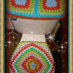 Custom made toilet cover crochet set  for a customer to match her bathroom curtain I will match your bathroom these are very popular it's all my pattern made to order great gift or home decor