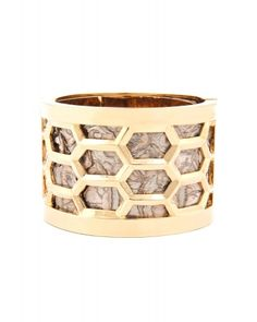 Kara Ross Honeycomb Cuff, Gold With Bronze/Gold Python (I'd like it in white gold, please)