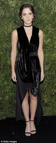 Show your soft side like Emma in a velvet dress by KITX. Click 'Visit' to buy now. #DailyMail