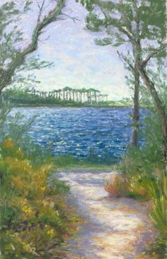 Grayton Beach Campground Path Landscape Painting by Poucher, painting by artist Nancy Poucher