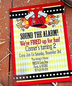FIREMAN Birthday - Fire Fighter INVITATIONS - Fire man Party