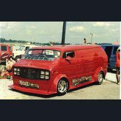 """Metal Storm"" custom chopped 70's show van"