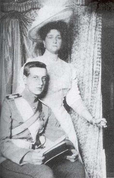 Alexandra with Grand Duke Dmitri Pavlovich, who would later become involved in the murder of Rasputin.