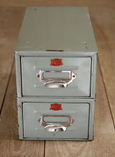 Pair Of Vintage Industrial Veteran Series Index Card Filing Drawers Box (#1)
