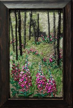 Large photo of Fireweed Seed Bead Art, Beads Pictures, Felt Embroidery, Textile Fiber Art, Wool Art, Beaded Crafts, Landscape Quilts, Thread Painting, Button Art