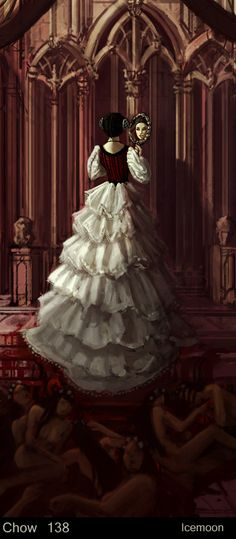 Art: Countess Elizabeth Bathory Notice the bloody corpses in the foreground beneath Elizabeth.