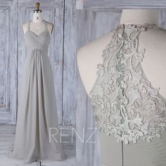 2017 Gray Chiffon Bridesmaid Dress Empire, Ruched Sweetheart Wedding Dress with Halter, Lace Back A Line Prom Dress Floor Length (H440)