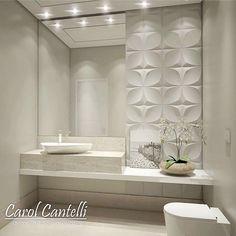 Deus de Poder, como não se apaixonar pelos lindos projetos da arquiteta Carol Cantelli (@carolcantelli_interiores)? Impossível. Sonhando com esse lavabo em minha casa! Via: @decoremais.