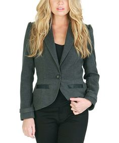 Another great find on #zulily! Gray & Black Faux Leather-Trim Blazer #zulilyfinds