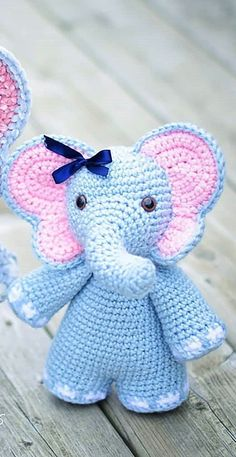 Free Crochet Pattern: Elephant Girl Amigurumi Doll Free crochet pattern for girl elephant! Free amigurumi pattern for elephant doll and dress. The pattern comes with clear instructions and photos. Crochet this little elephant for all your loved ones! Crochet Elephant Pattern, Crochet Patterns Amigurumi, Crochet Dolls, Amigurumi Tutorial, Knitting Patterns, Bear Patterns, Knitting Toys, Crocheted Toys, Knitting Ideas