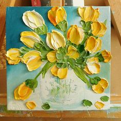 Yellow and Orange Tulip Bee Oil Impasto Painting, Small Bee Oil Painting Tulip Painting, Spring Painting, Oil Painting Flowers, Texture Painting, Acrylic Painting Canvas, Painting & Drawing, Knife Painting, Cactus Drawing, Encaustic Art