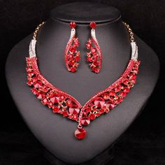 Fashion Indian Jewellery Green Crystal Necklace Earrings Bridal Jewelr – USMART NY