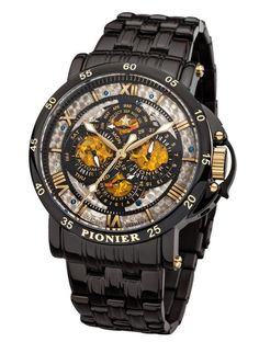 Pionier 'Dublin' Made in Germany Automatic Black Gold Leather Strap Watch Dublin, Super Deal, Black Bracelets, Omega Seamaster, Gold Leather, Casio Watch, Stainless Steel Case, Chronograph, Bracelet Watch