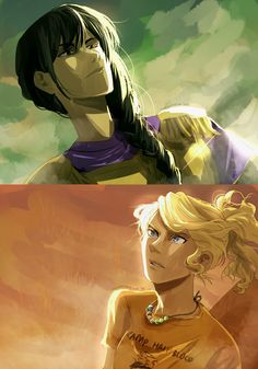 Reyna. Jason had described her well. Even without that, Annabeth would have singled her out as the leader. Medals decorated her armor. She carried herself with such confidence the other demigods backed away and averted their gaze. | art by cookiecreation (Reyna and Annabeth Chase)