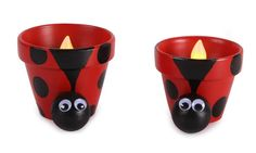 Clay Pot Ladybug Luminaries