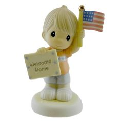 Precious Moments Welcome Home My Hero- Boy Figurine Height: 4.25 Inches Material: Porcelain Type: Figurine Brand: Precious Moments Item Number: Precious Moments 740019 Catalog ID: 13117 New With Box.