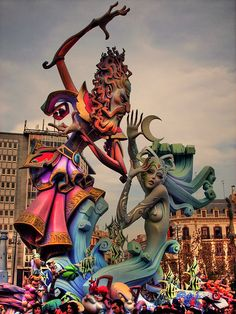 The Fallas festival in Valencia, Spain. Elaborate giant paper mache sculptures that are later burnt in the streets. a festival of fire. Huge fiesta event. Travel culture.