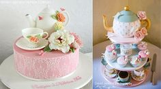 Teapot Cakes by Lorinda Seto Cakes (left) and  Cake Matters (right