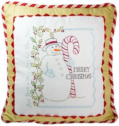 Hand Embroidery Pattern - Vintage Candy Cane Snowman - Crabapple Hill Studio