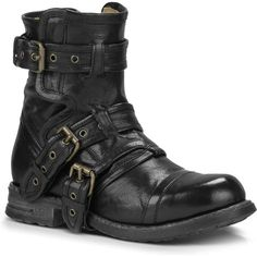 UGG Australia Women's Elisabeta Black Motorcycle Boots ($400) ❤ liked on Polyvore featuring shoes, boots, ankle boots, black, black leather bootie, short black boots, engineer boots, short boots and leather biker boots
