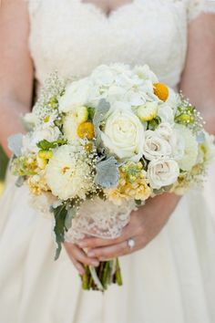 yellow, grey & white wedding flowers - GORGEOUS