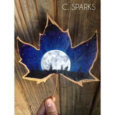 Full Moon painting on a real leaf - dried and pressed. email me to commission a leaf painting (chrissysparks@me.com)