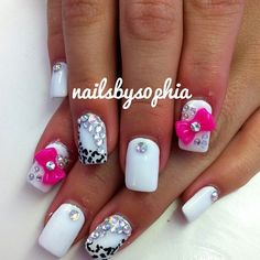 Leopard Print Nails with Hot Pink Bow