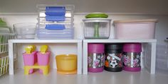 Freestanding riser shelves can double your shelf space.  Great for visability, too