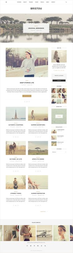 Bristou is a clean and elegant premium #PSD #blog #template for creative blogger and travelers website with 3 unique homepage layouts and 15 organized PSD pages download now➩ https://themeforest.net/item/bristou-personal-blog-psd-template/18408408?ref=Datasata