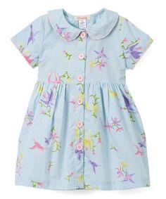 Look what I found on #zulily! Blue Bird & Flower Peter Pan Collar Dress - Toddler & Girls #zulilyfinds